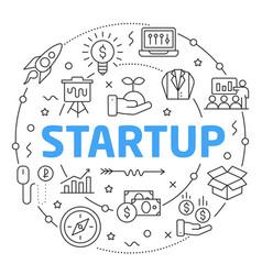 line flat circle startup vector image