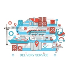 Modern Flat thin Line design Delivery logistics vector image