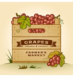 Retro crate of grapes vector image vector image