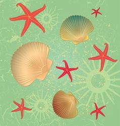 Seashells Pattern Background vector image vector image
