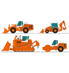 set of four construction machines vector image vector image