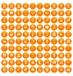 100 target icons set orange vector