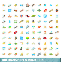 100 transport and road icons set cartoon style vector