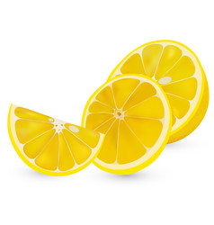3d realistic sliced lemon isolated sliced vector image