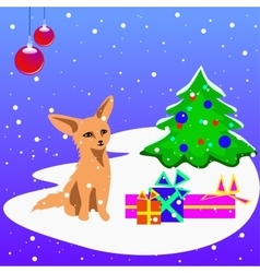 A christmas card with a fox cub christmas vector