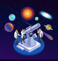 astrophysics isometric composition vector image