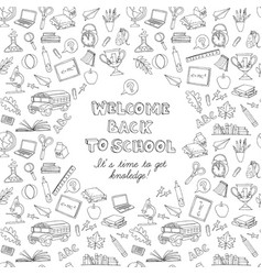 back to school greeting card kids doodles with vector image