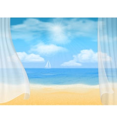 beach and curtains vector image