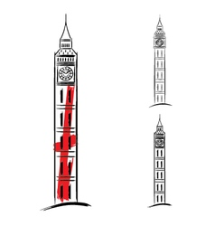 Big ben on white background vector image