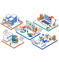 big data science analysis isometric set vector image