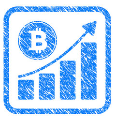 bitcoin growing chart framed stamp vector image