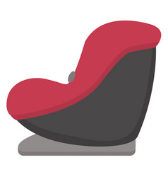 Black and red baby car seat side view isolated on vector