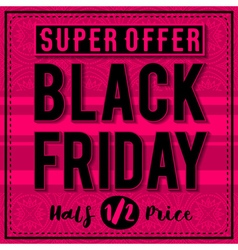 Black friday sale banner on patterned pink backgro vector