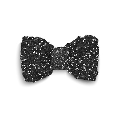 Black sparkling glitter decorated bow vector image
