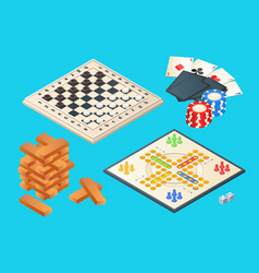 Board games isometric pictures of various vector
