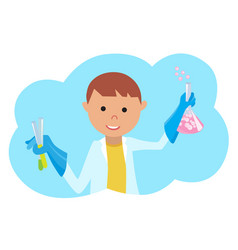 boy doing chemical experiment young scientist vector image