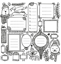 Bullet journal and winter hand drawn elements vector