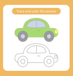 car toy with simple shapes trace and color the vector image