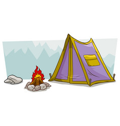 Cartoon camping tent and campfire against mountain vector