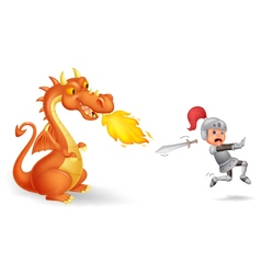 Cartoon of a knight running from a fierce dragon vector