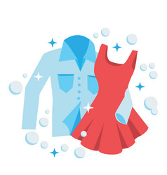 clean laundry shirt and dress embrace concept for vector image