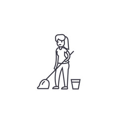 cleaning with a mop line icon sign vector image