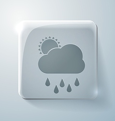 cloud rain Glass square icon with highlights vector image