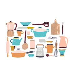 Collection of glassware kitchenware and cookware vector