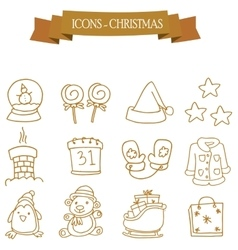 Collection stock Christmas holiday icons set vector image