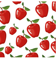 Color background of pattern set apple delicious vector