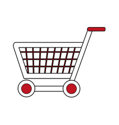 Color silhouette image shopping cart with wheels vector