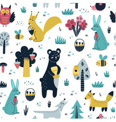 cute woodland animals seamless pattern forest vector image
