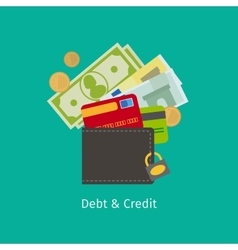 Debt and Credit cartoon vector