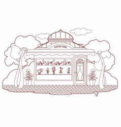 Drawing of a flowers kiosk vector