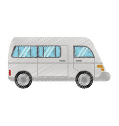 Drawing van transport vehicle urban vector