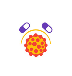 Drug resistance icon with virus vector