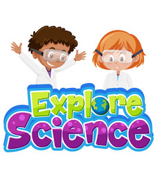 Explore science logo and two kids wearing vector