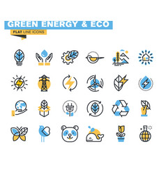 Flat line colorful icons of renewable energy vector