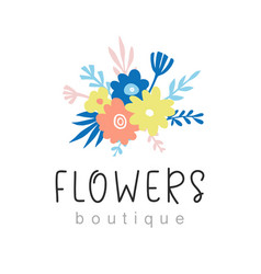 flowers boutique logo design vector image