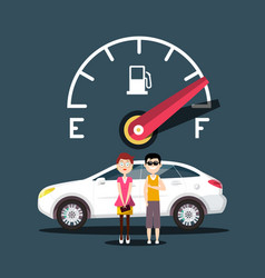 fuel icon with car and people design vector image