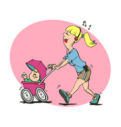 funny mom care baby newborn multitask mom vector image