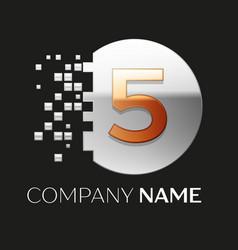 Golden number five logo symbol in silver pixel cir vector