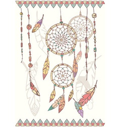 Hand drawn native american dream catcher beads vector