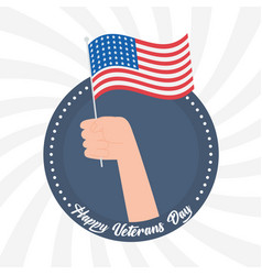 Happy veterans day hand holding american flag us vector
