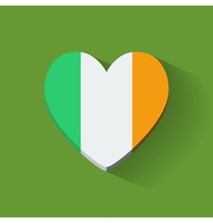 Heart-shaped icon with flag of Ireland vector image