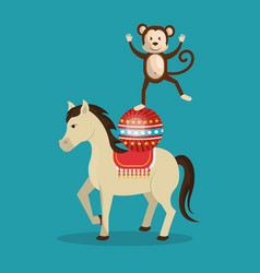 horses and monkeys circus show vector image