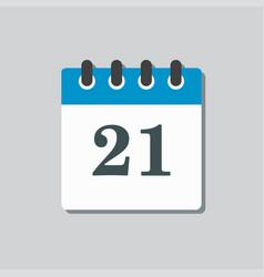 Icon calendar page day template calendar date 21 vector