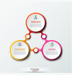 infographic design template with 3 connected vector image