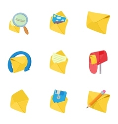 Letter icons set cartoon style vector