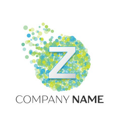letter z logo blue green yellow particles vector image